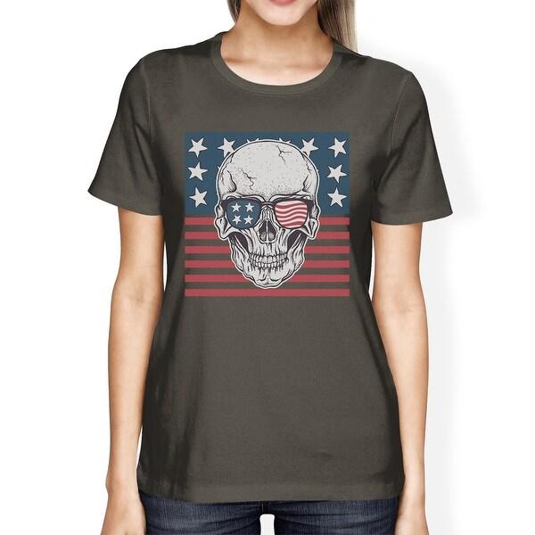 Shop Skull American Flag Tee Womens Dark Gray Round Neck Us Army