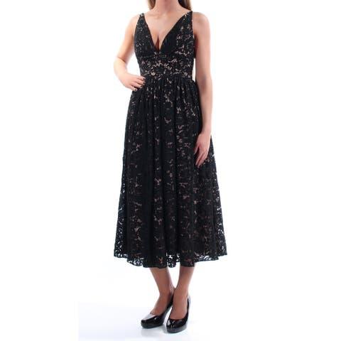 FAME AND PARTNERS Black Sleeveless Tea Length Dress Size 0 - Size 0