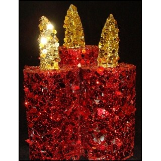 "9"" Red and Gold Sequined Flameless LED Lighted Christmas Pillar Candle Trio"