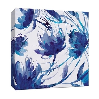 """PTM Images 9-147201  PTM Canvas Collection 12"""" x 12"""" - """"Indigo Swirl II"""" Giclee Flowers Art Print on Canvas"""