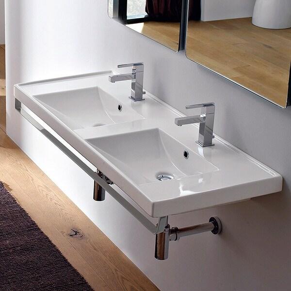 Shop Nameeks 3006 Tb Scarabeo 48 Ceramic Double Basin Bathroom Sink