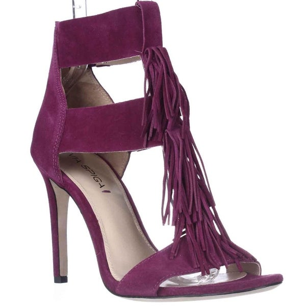 Via Spiga Eilish Fringe Dress Heel Sandals, Bright Plum