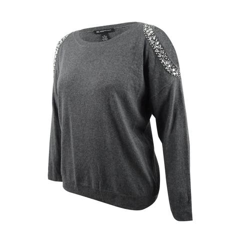 INC International Concepts Women's Plus Size Embellished Cold-Shoulder Sweater