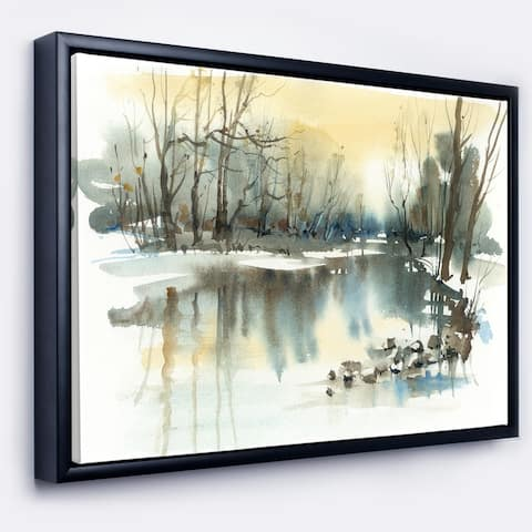 Designart 'River in Winter' Landscape Framed Canvas Art Print