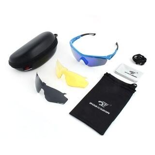 ROBESBON Authorized Interchangeable Lens Polarized Bike Cycling Glasses Set Blue