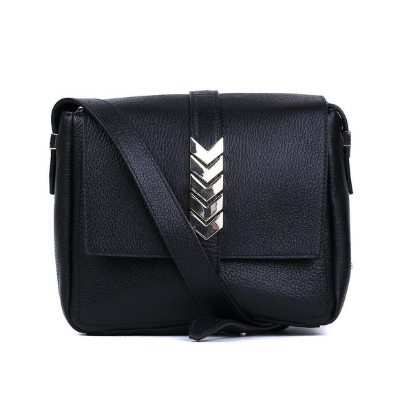 90ee8f3a63 Shop Versace Collection Solid Black Grained Leather Arrow Shoulder ...