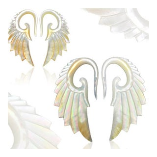 """Pair of Hand Carved Mother of Pearl """"Angelic Wing"""" Taper (Sold Individually) (3 options available)"""