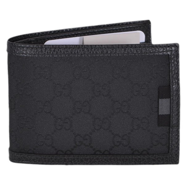 "Gucci Men's 278596 Black Canvas Web Tab GG Guccissima Bifold Wallet - 5"" x 3.75"""