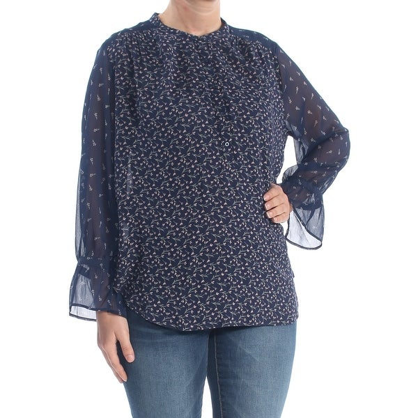 LUCKY BRAND Womens Navy Button Floral Long Sleeve Crew Neck Blouse Top Size: L