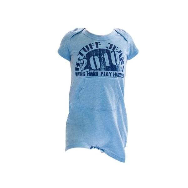 B. Tuff Western Shirt Boys Romper Infant Logo Print Light Blue