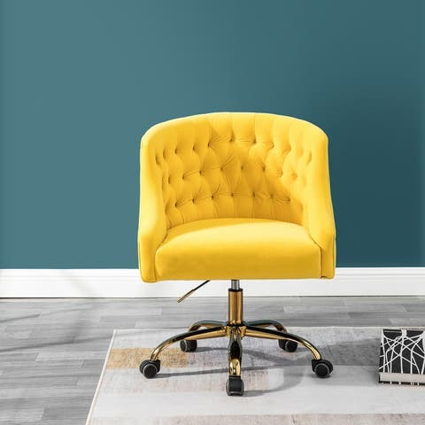 Lydia Swivel Height Adjustable Task Chair with Gold Base