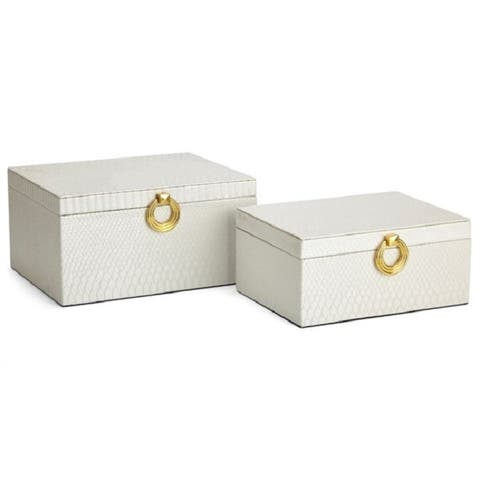 """Set of 2 Oscar White Textured Leather Jewelry Boxes 10"""""""