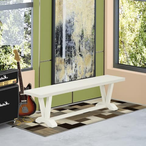 East West Furniture Amazing painted bench top surface and a fantastic 4 legs V style in many finish options hardwood - 60