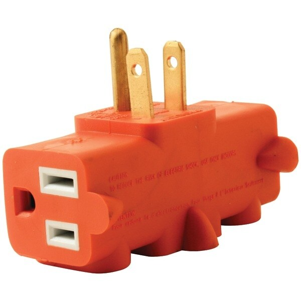 Axis Ylct-10 3-Outlet Heavy-Duty Grounding Adapter (Orange)