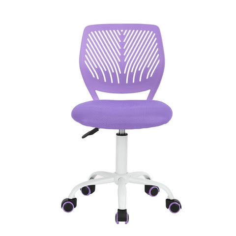 Porch & Den Nazaneen Cut-out Plastic Backrest/ White Metal Base Task Chair