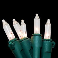Set of 200 Clear Bright White Mini Christmas and Patio Lights - Green Wire
