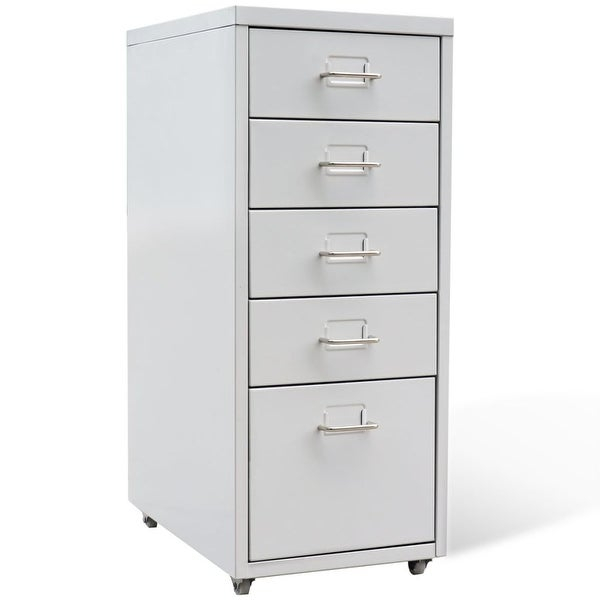 "vidaXL File Cabinet with 5 Drawers Gray 27"" Steel"