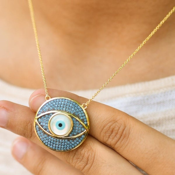 Round Evil Eye Pendant Gold Tone Over Sterling Silver Turquoise Iced Out Chain On Sale