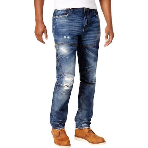 Heritage Mens Zipper Regular Fit Jeans, Blue, 32W x 33L - 32W x 33L