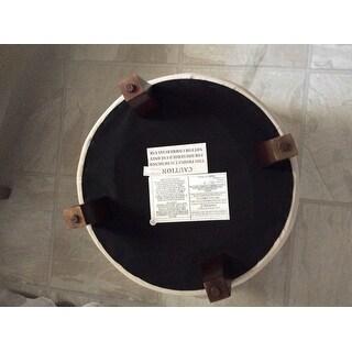 Copper Grove Choccolocco Velvet Round Storage Ottoman Eggshell