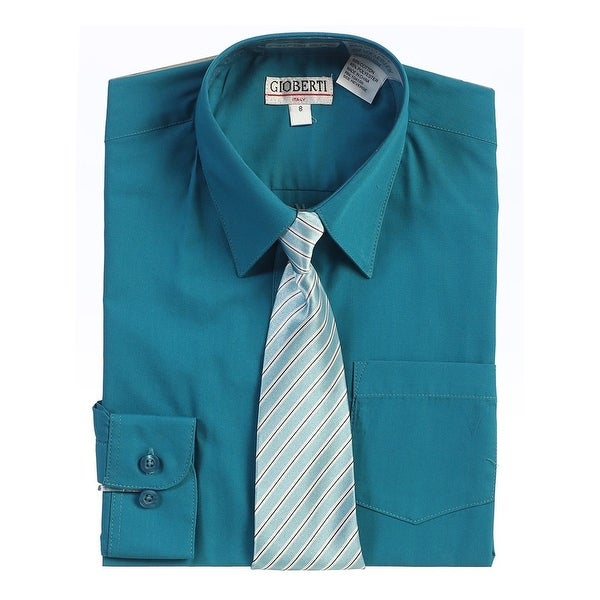 5a535bfc7 Shop Boys Teal Green Button Up Dress Shirt Striped Tie Set 8-18 - Free  Shipping On Orders Over $45 - Overstock - 28293933