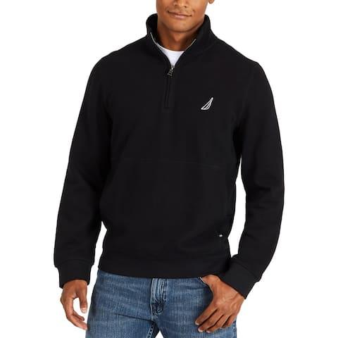 Nautica Mens Sweater Black Size XS 1/2 Zip Fleece Stand Collar Classic F