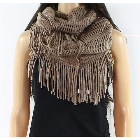 David and Young Taupe Figure 8 Double Loop Fringe Trim Knit Scarf $26