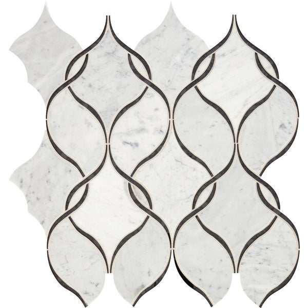 """Daltile LVIWNARBMS1L Lavaliere - 13"""" x 12"""" Sheet Arabesque Mosaic Wall Tile - Light Polished Marble Visual - Sold by Sheet"""