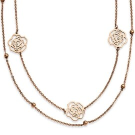 Stainless Steel Rose Gold-plated Flowers 17in with ext Necklace (1 mm) - 17 in