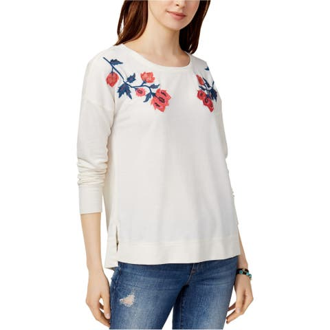 Lucky Brand Womens Embroidered Sweatshirt, off-white, X-Small