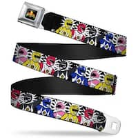 Power Rangers Logo Full Color Power Rangers Burst Black White Webbing Seatbelt Belt