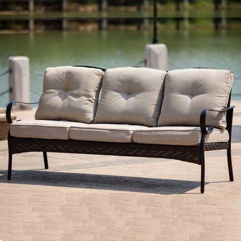 Outdoor Iron 3 Seater Sofa with Cushions for Patio