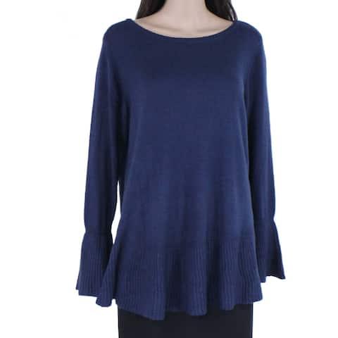 Style & Co Women's Sweater Blue Size 1X Plus Crewneck Ribbed-Trim