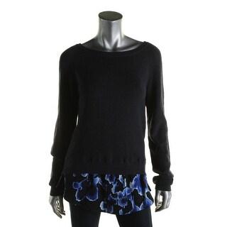 Michael Kors Womens Pullover Sweater Rib Knit Shirttail Hem