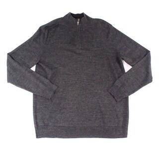 Club Room NEW Gray Mens Size Medium M Mock-Neck 1/2 Zip Wool Sweater