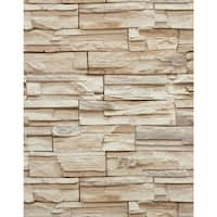 York Wallcoverings RN1041 Travertine Wallpaper - chocolate brown / slate gray / tan / cream - N/A