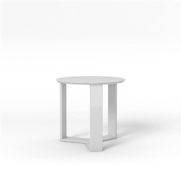 Madison Round Accent End Table White Gloss