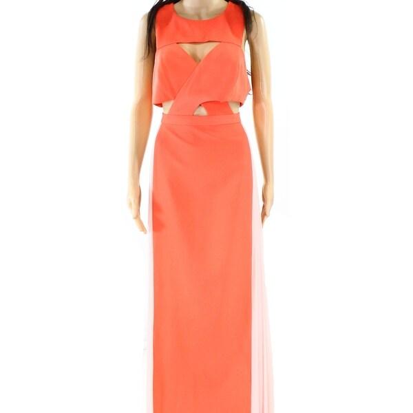 Shop BCBG Max Azria NEW Orange Womens Size 12 Pleated-Sides Cutout ...