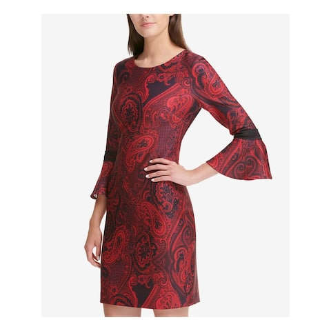 TOMMY HILFIGER Red Bell Sleeve Above The Knee Sheath Dress Size 10