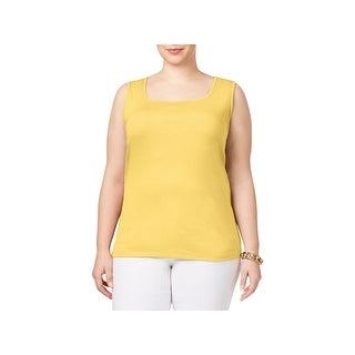 Karen Scott Womens Plus Tank Top Cotton Square Neck (3 options available)