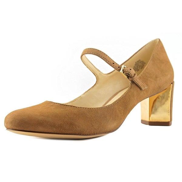 Nine West Fadilla Women Round Toe Leather Tan Heels