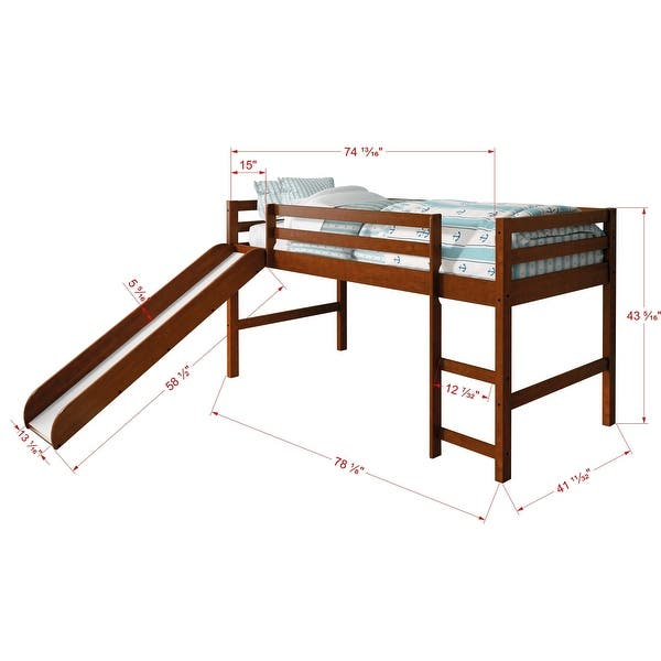 Donco Kids Twin Size Tent Loft Bed With Slide On Sale Overstock 8099662