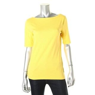 Lauren Ralph Lauren Womens T-Shirt Stretch Cotton Knit - m