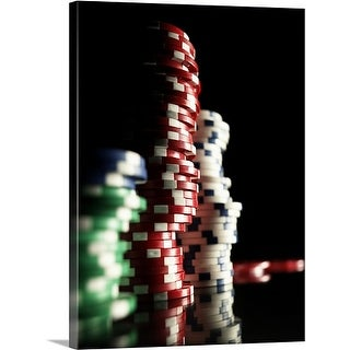 Premium Thick-Wrap Canvas entitled Stacks of gambling chips, close-up (focus on red chips)