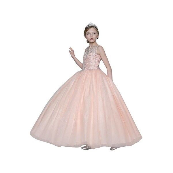 49f316e4581b Shop Girls Blush Pink Jeweled Bodice Embroidered Junior Bridesmaid Dress -  Free Shipping Today - Overstock - 21611492