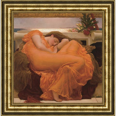 """Flaming June by Frederic Leighton Giclee Print Oil Painting Gold Frame Size 17"""" x 17"""""""