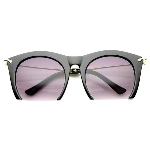 Womens Cateye High Fashion Semi-Rimless Metal Arms Sunglasses