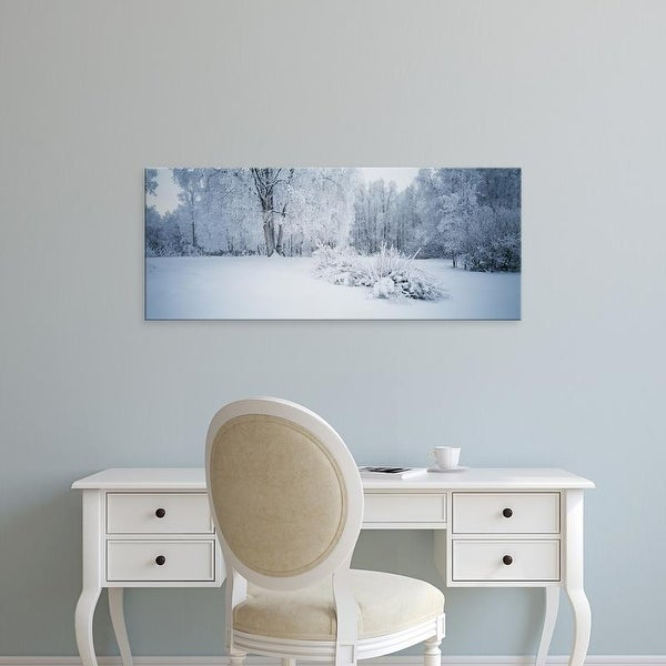 Easy Art Prints Panoramic Images's 'Snowcapped trees on a landscape, Alaska, USA' Premium Canvas Art