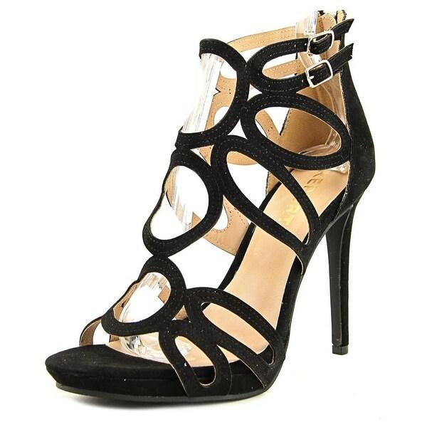 Report Triton Women Open Toe Leather Black Sandals