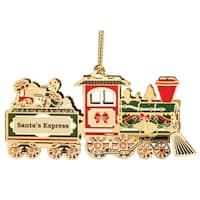 """3.25"""" Red and Green 24K Gold """"Santa's Express"""" Christmas Train Keepsake Ornament"""